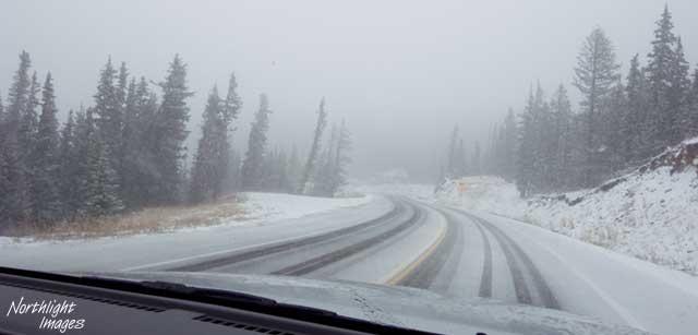 snowy road in Colorado