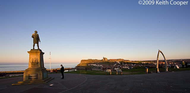 Captain Cook memorial at sunset - whitby