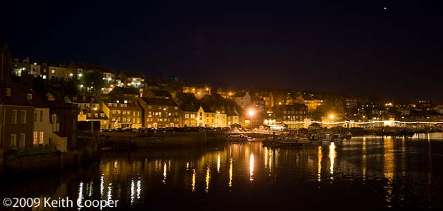 night time view, south shore whitby harbour