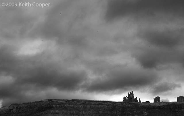 whitby abbey atop the cliffs