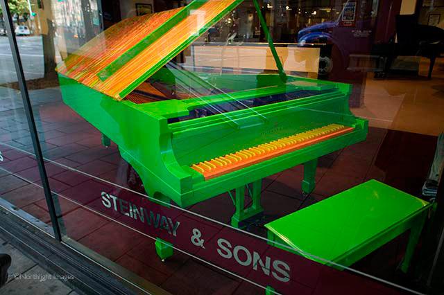 green steinway piano