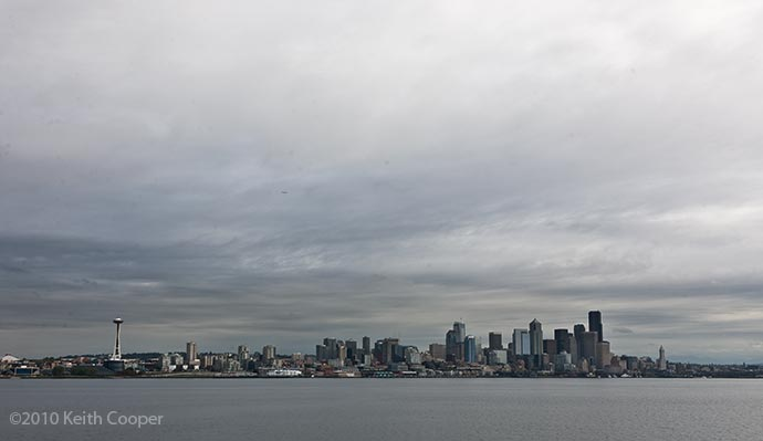 panoramic view of Seattle from the sea