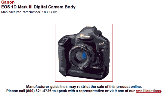 Canon 1d3 manufacturers info