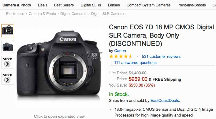 7D camera at Amazon