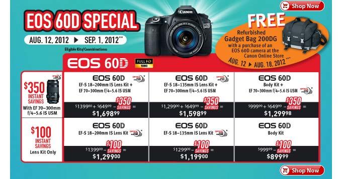 Canon EOS 60D, 60Da info