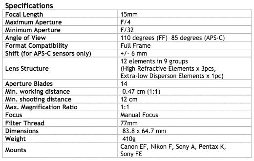 specifications: venus 15mm f4 shift macro
