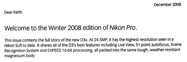 Nikon D3x in Nikon Pro magazine