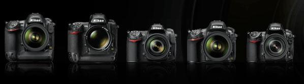 Nikon camera lineup, incl. D800