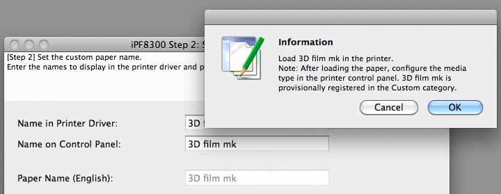 setting custom media type for printer