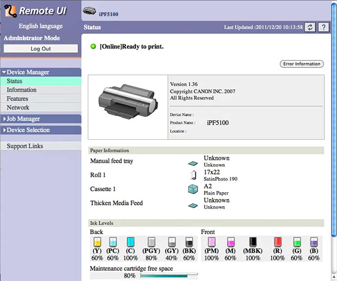 iPF5100 printer web interface
