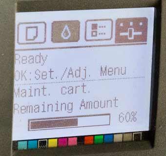 display shows maintenance cart has 60% capacity