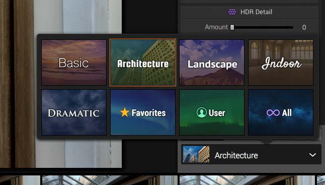 range of preset conversion options