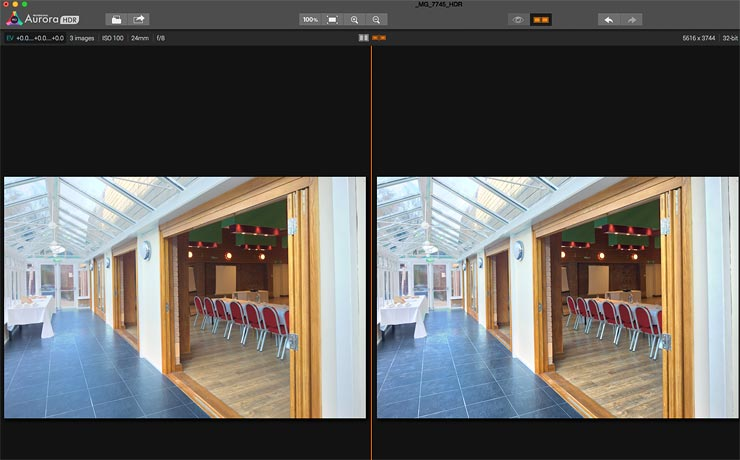 split view for comparing images