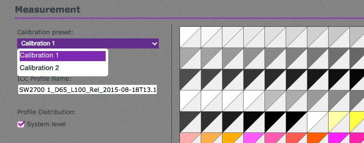 choosing a calibration preset