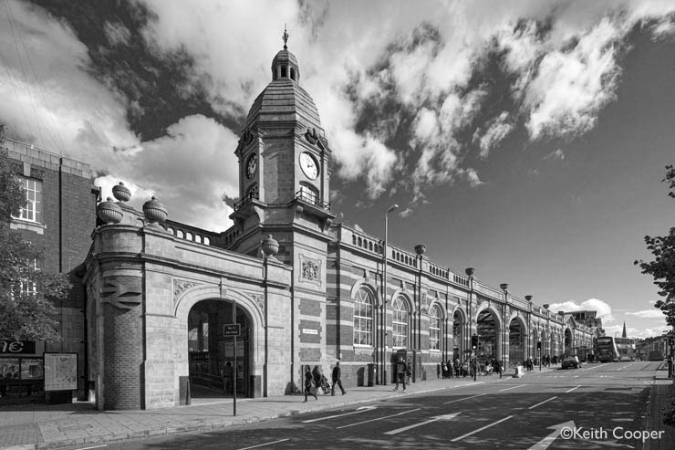 Leicester railway station - full B&W tonality preset