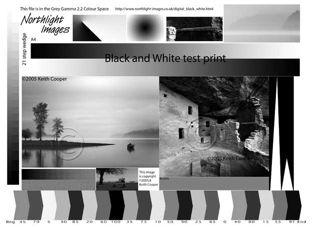 black and white test print for use with colormunki