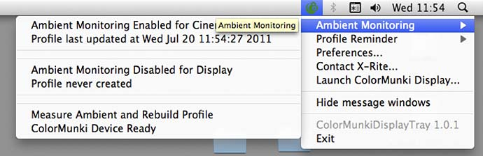 ambient monitoring status info