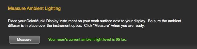 measured light level