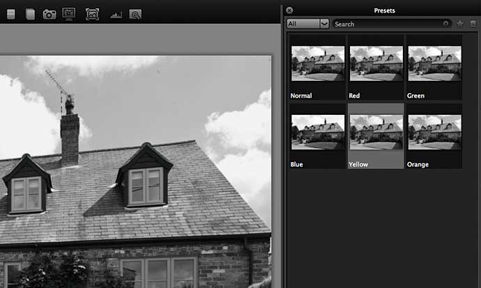 colour filters for Black and white effects