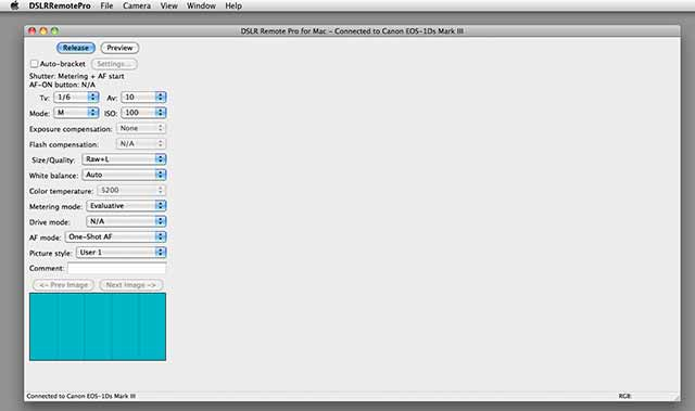 DSLR Remote Pro - startup screen