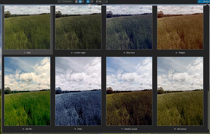 image processing presets for toning