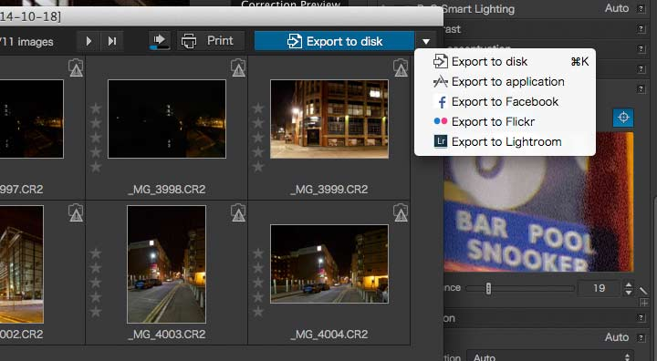 file output options for optics pro