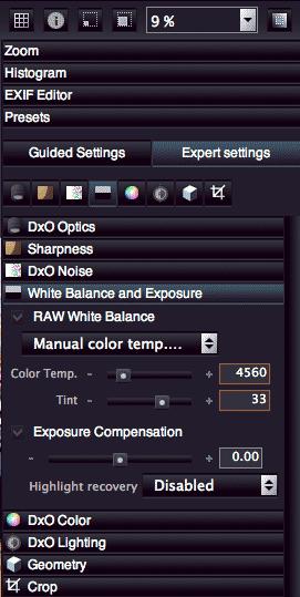 white balance settings
