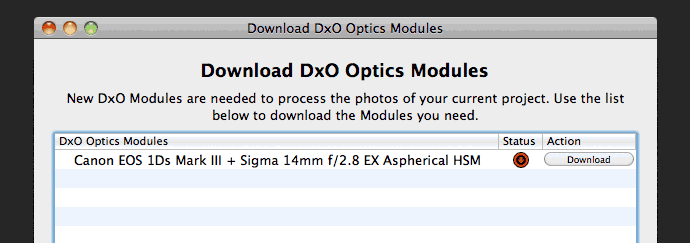 incorrect lens module download