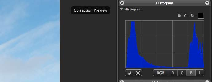 blue channel on histogram