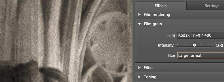 grain size for larger format film