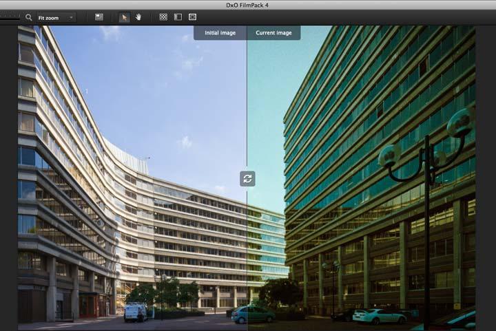 split view showing cross processed colour film