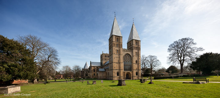 cropped view of Southwell Minster using lens at 11mm