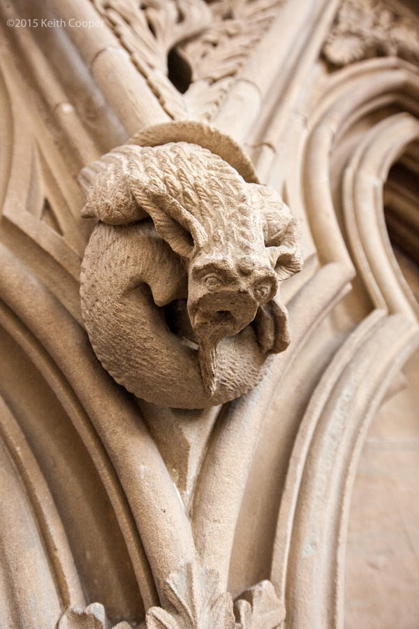 detail of stone carving in the chapter house at Southwell minster