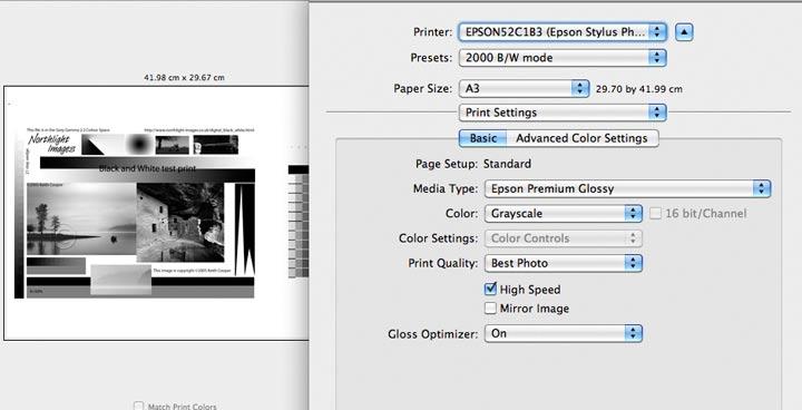 greyscale print mode r2000