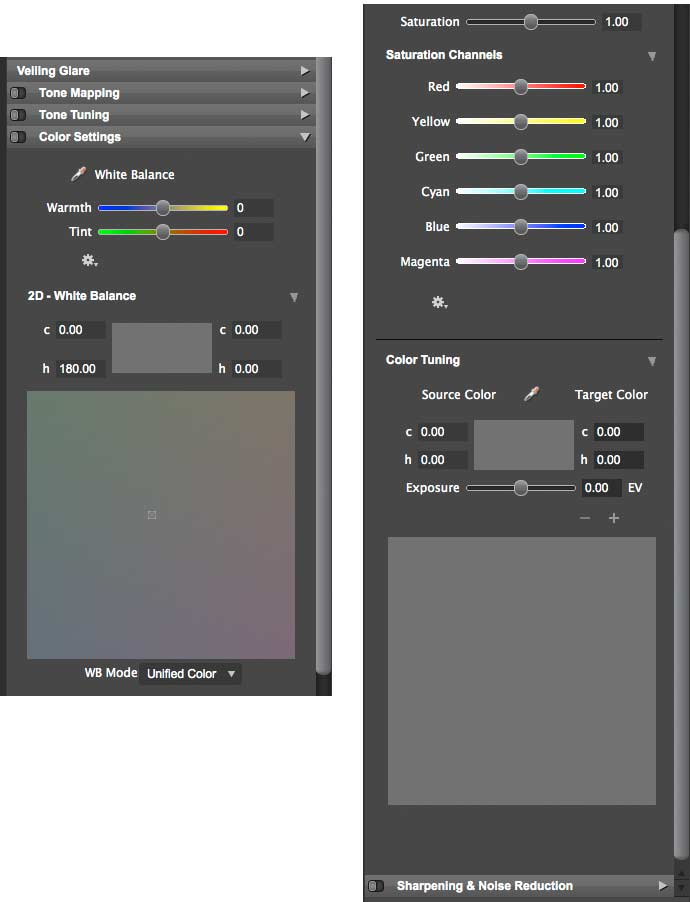colour adjustments for hdr expose 2 and float 32