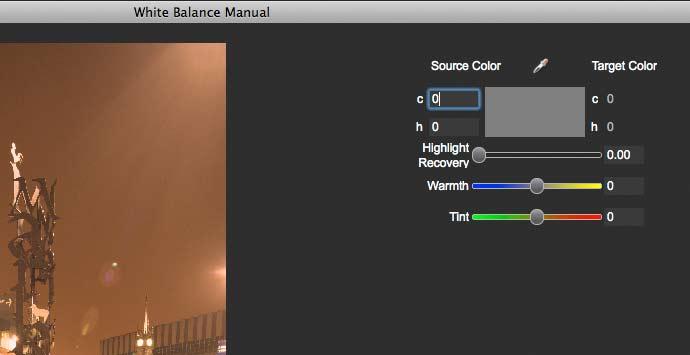 white balance adjustment screen.