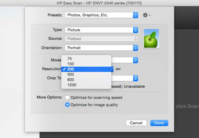 basic scan options in software