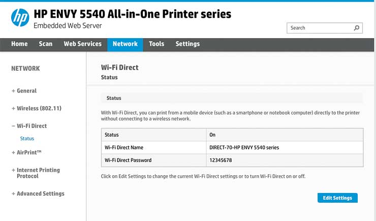 device web page for 5540 printer