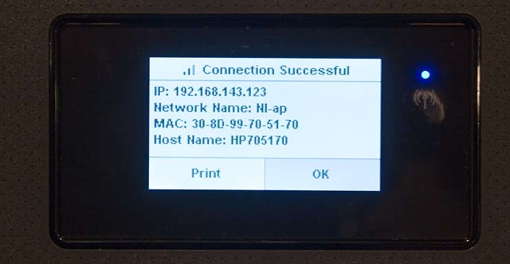 printer wifi setup via front panel