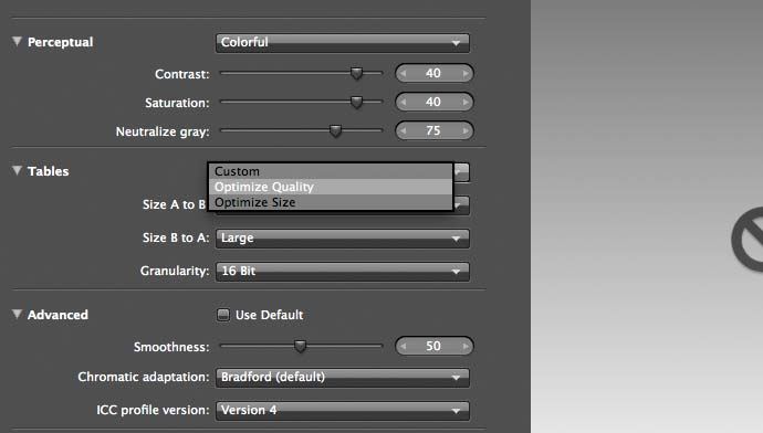 advanced profile creation settings
