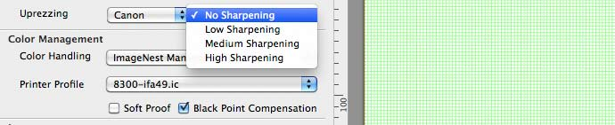 options for built in print sharpening