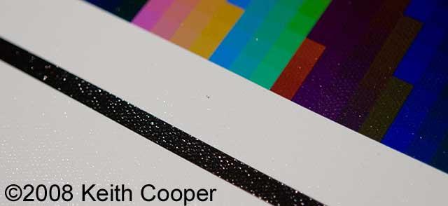small dark fleck on canvas surface