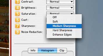 altering sharpening settings