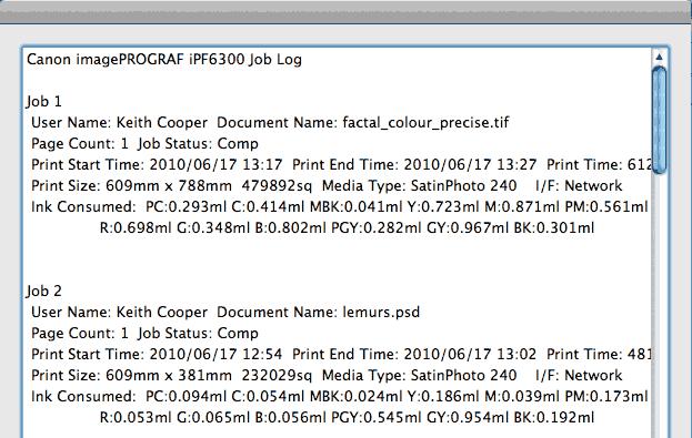 print job information