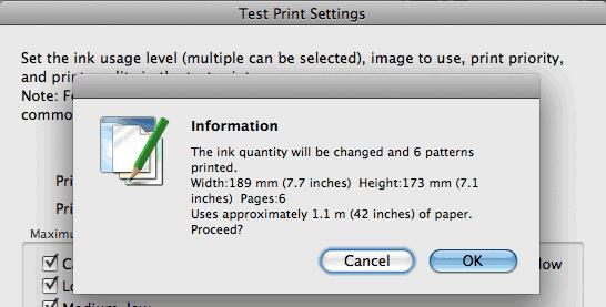 test print setup