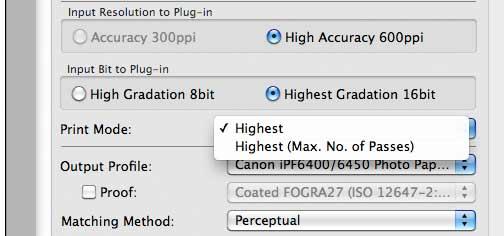 16 bit print options