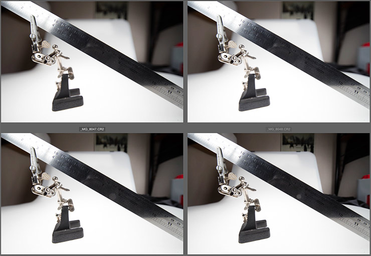 close up views of ruler at different apertures