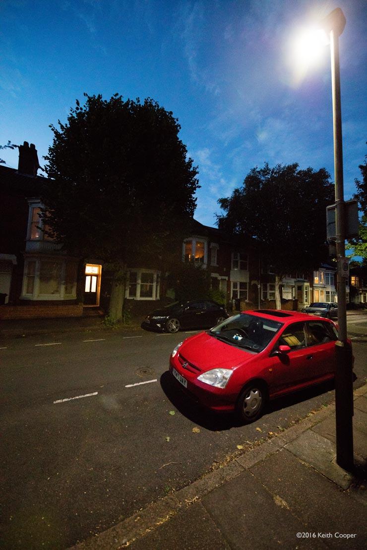 street light and car