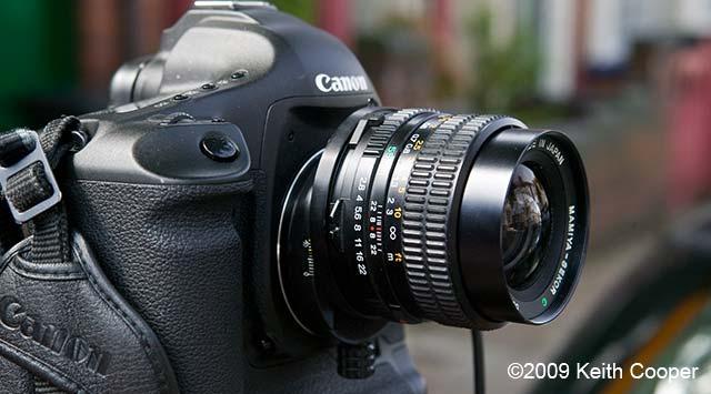 mamiya 55mm lens on canon body - shifted vertically