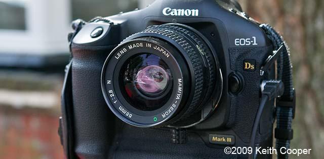 front view of mamiya sekor C 55mm f2.8 lens